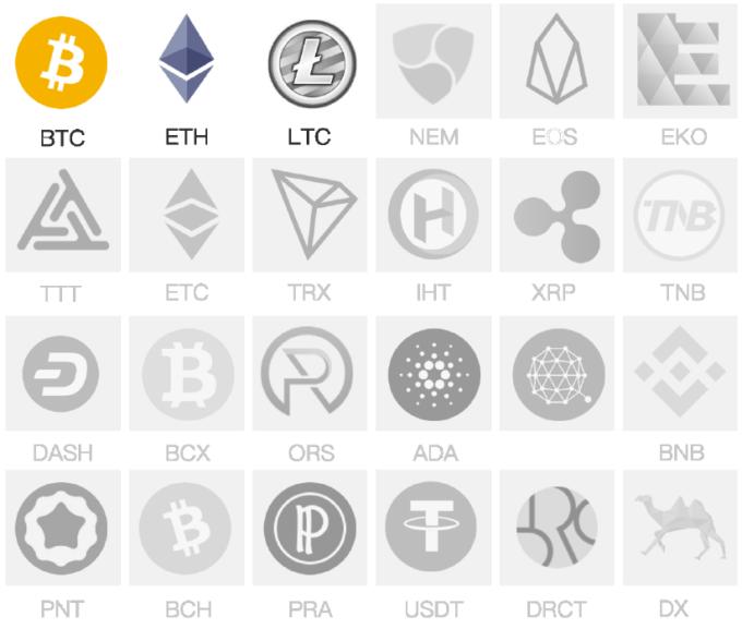34種類の暗号資産